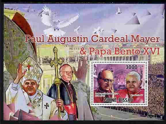 Guinea - Bissau 2010 Cardinal Paul Mayer & Pope Benedict perf s/sheet unmounted mint, Michel BL 892