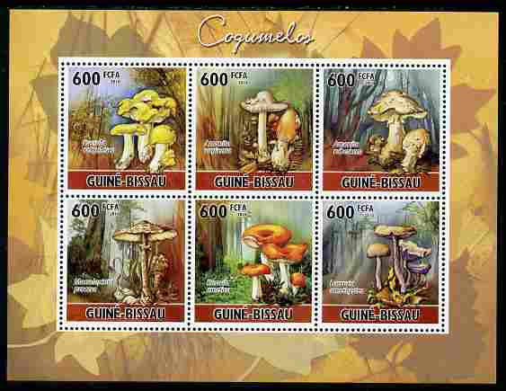 Guinea - Bissau 2010 Mushrooms perf sheetlet containing 6 values unmounted mint, Michel 5159-64
