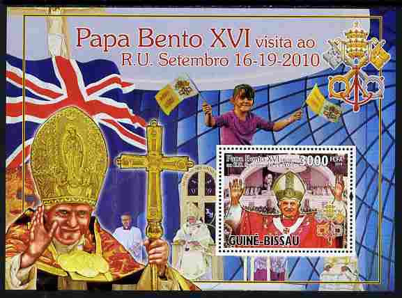 Guinea - Bissau 2010 Pope Benedict in England perf s/sheet unmounted mint, Michel BL 893