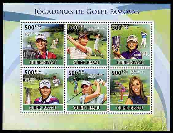Guinea - Bissau 2010 Female Golf Stars perf sheetlet containing 6 values unmounted mint, Michel 5113-18
