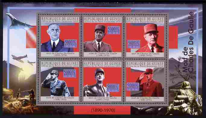 Guinea - Conakry 2010 Death Anniversary of Charles De Gaulle #1 perf sheetlet containing 6 values unmounted mint, Michel 7752-57