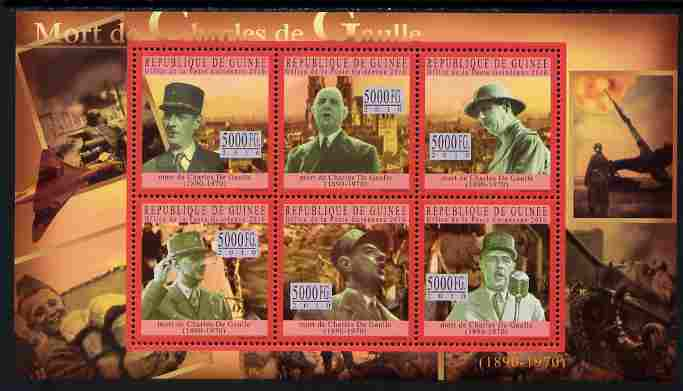 Guinea - Conakry 2010 Death Anniversary of Charles De Gaulle #2 perf sheetlet containing 6 values unmounted mint, Michel 7746-51