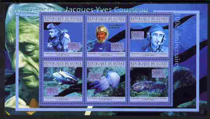 Guinea - Conakry 2010 Birth Anniversary of Jacques Cousteau perf sheetlet containing 6 values unmounted mint, Michel 7690-95