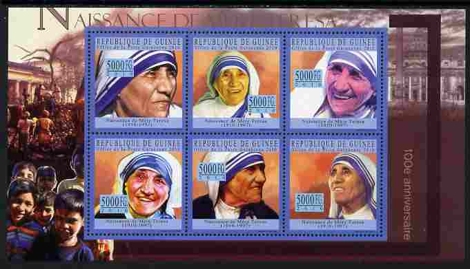 Guinea - Conakry 2010 Birth Anniversary of Mother Teresa #2 perf sheetlet containing 6 values unmounted mint, Michel 7703-08, stamps on personalities, stamps on women, stamps on human rights, stamps on peace, stamps on nobel, stamps on teresa