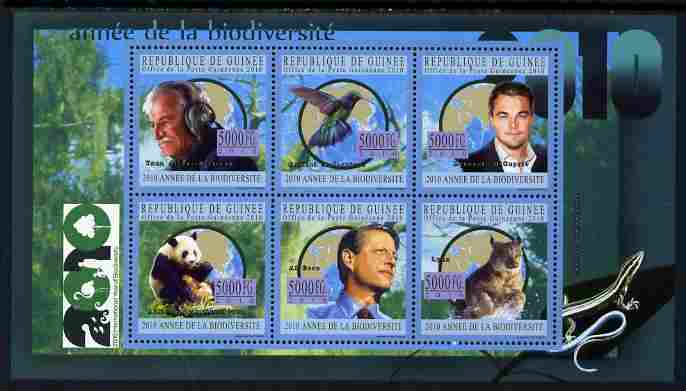 Guinea - Conakry 2010 Year of Biodiversity perf sheetlet containing 6 values unmounted mint, Michel 7774-79