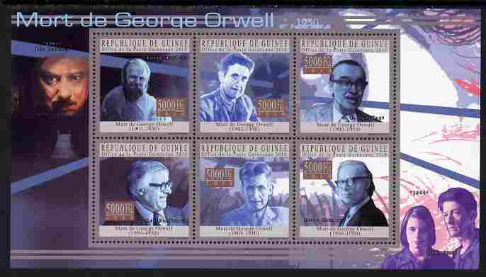 Guinea - Conakry 2010 Death Anniversary of George Orwell perf sheetlet containing 6 values unmounted mint, Michel 7725-30