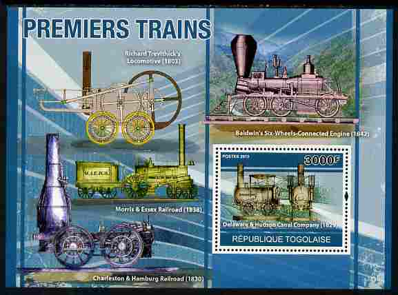 Togo 2010 Early Trains perf s/sheet unmounted mint, Yvert 440