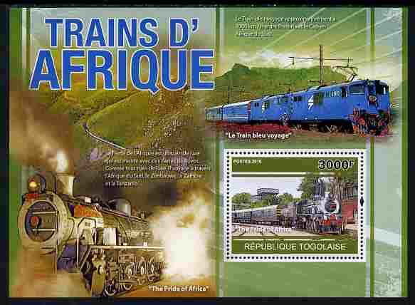 Togo 2010 African Trains perf s/sheet unmounted mint, Yvert 442