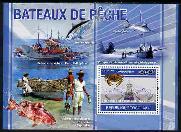 Togo 2010 Fishing Boats perf s/sheet unmounted mint, Yvert 444