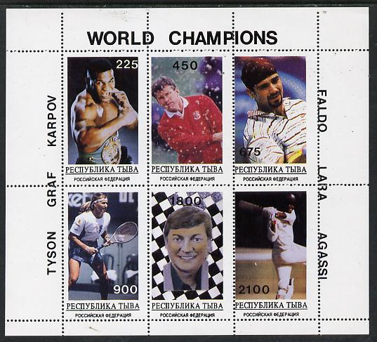 Touva 1995 World Champions perf set of 6 (Tyson, Graf, Karpov, Faldo, Lara & Agassi) unmounted mint. Note this item is privately produced and is offered purely on its thematic appeal