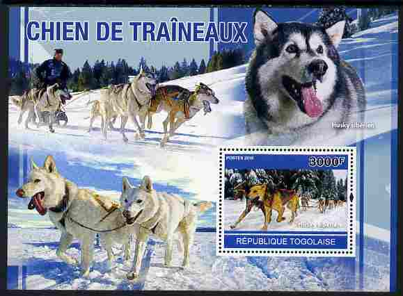 Togo 2010 Sled Dogs perf s/sheet unmounted mint, Yvert 446