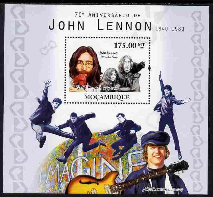 Mozambique 2010 70th Birth Anniversary of John Lennon perf s/sheet unmounted mint