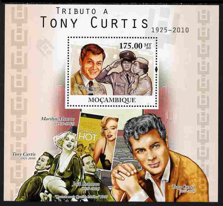 Mozambique 2010 Tribute to Tony Curtis (actor) perf s/sheet unmounted mint