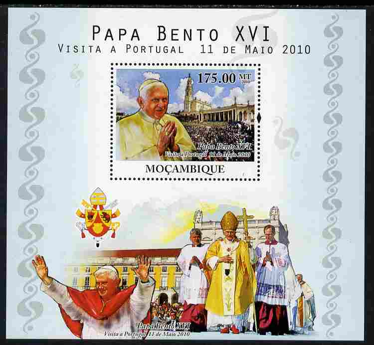 Mozambique 2010 Pope Benedict Visit to Portugal perf s/sheet unmounted mint