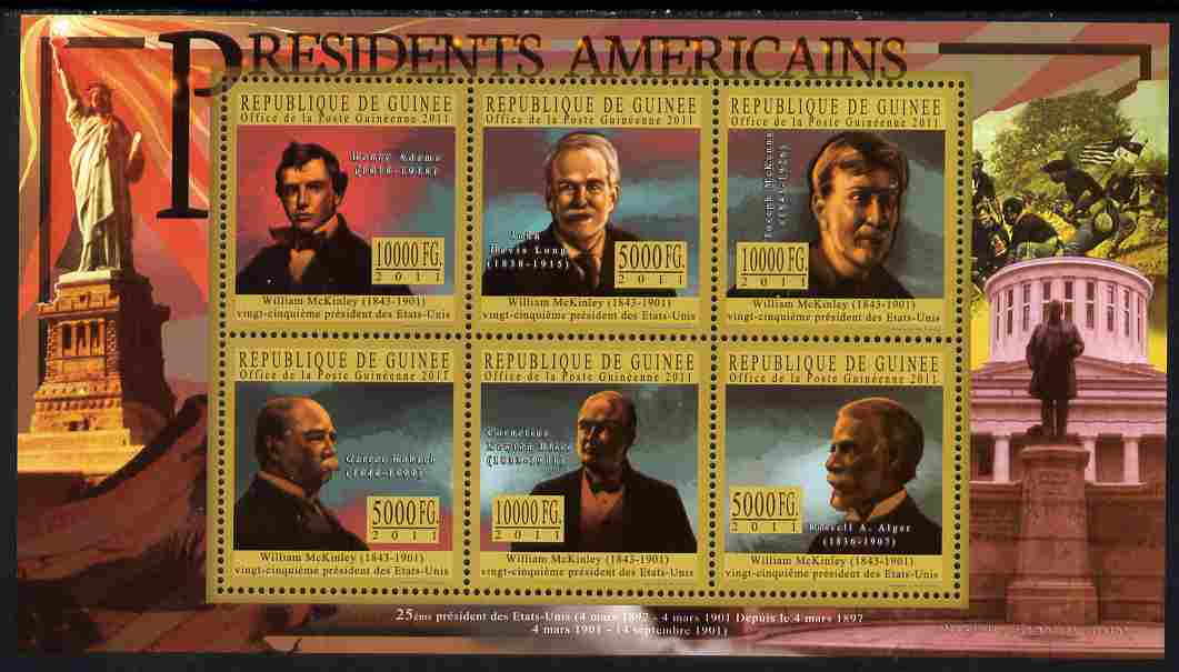 Guinea - Conakry 2010-11 Presidents of the USA #25 - William McKinley perf sheetlet containing 6 values unmounted mint