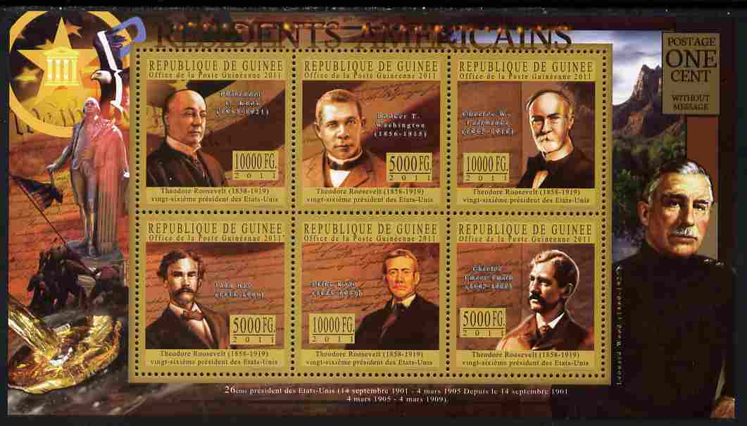 Guinea - Conakry 2010-11 Presidents of the USA #26 - Theodore Roosevelt perf sheetlet containing 6 values unmounted mint