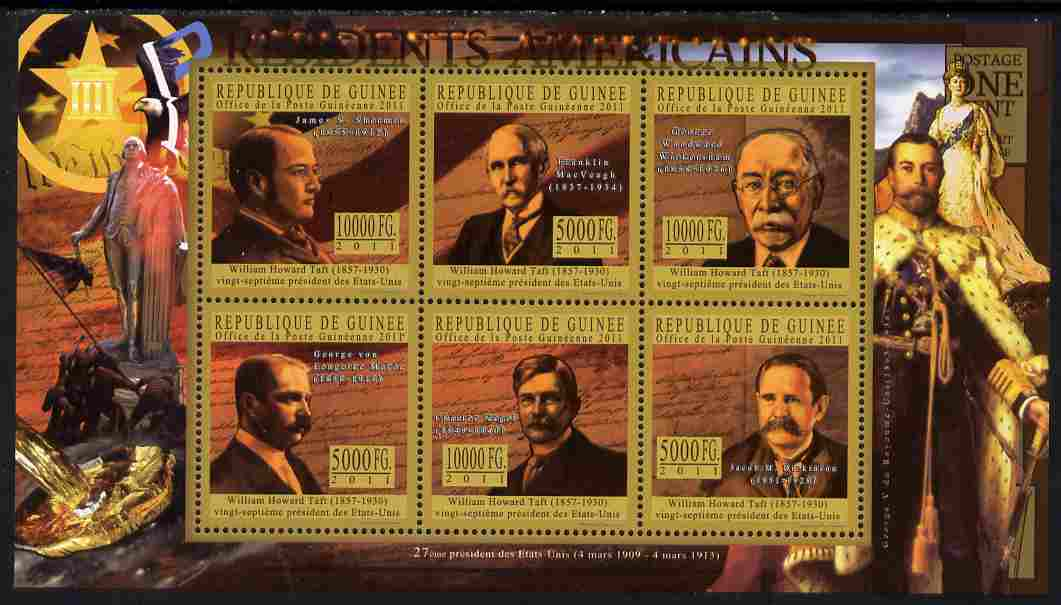 Guinea - Conakry 2010-11 Presidents of the USA #27 - William Howard Taft perf sheetlet containing 6 values unmounted mint