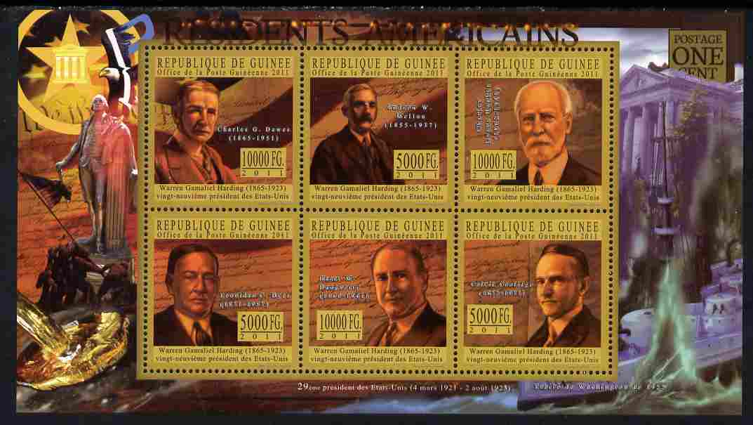Guinea - Conakry 2010-11 Presidents of the USA #29 - Warren G Harding perf sheetlet containing 6 values unmounted mint