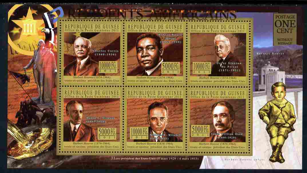 Guinea - Conakry 2010-11 Presidents of the USA #31 - Herbert Hoover perf sheetlet containing 6 values unmounted mint