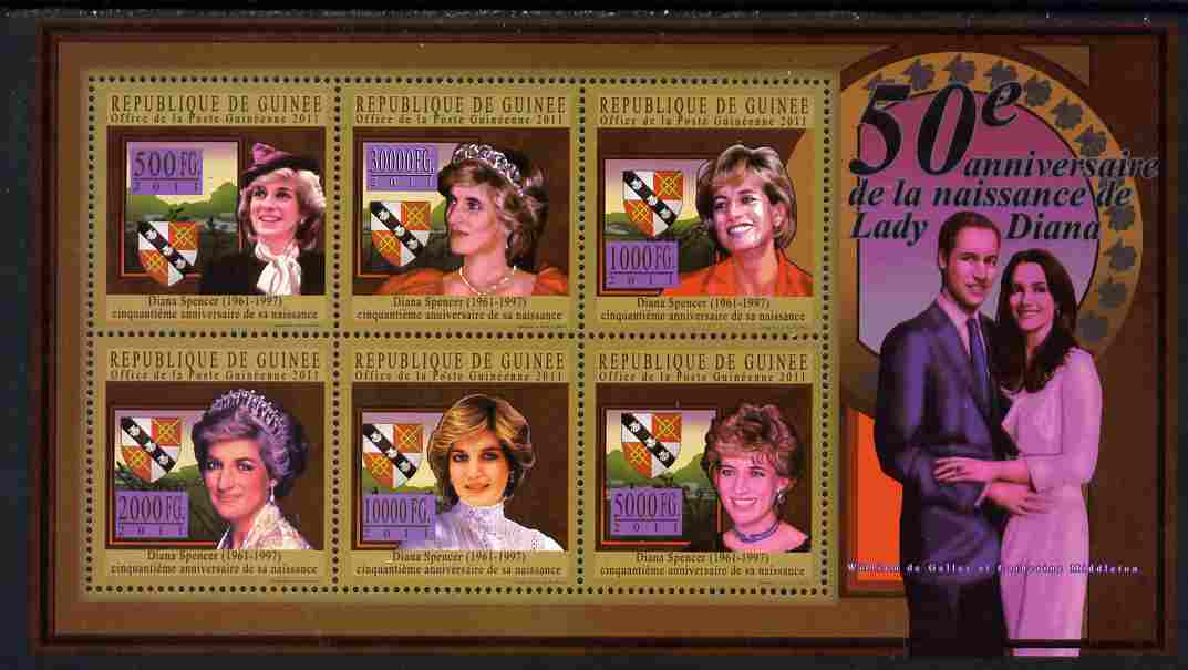 Guinea - Conakry 2011 50th Birth Anniversary of Princess Diana #2 perf sheetlet containing 6 values unmounted mint