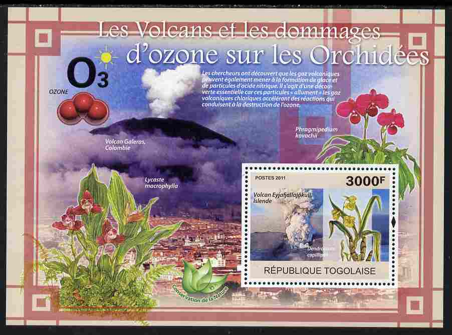 Togo 2011 Environment - Volanoes & Ozone Damage - Orchids perf s/sheet unmounted mint