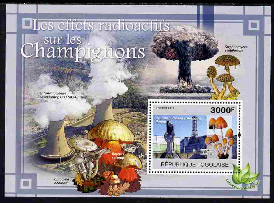 Togo 2011 Environment - Radioactivity - Mushrooms perf s/sheet unmounted mint