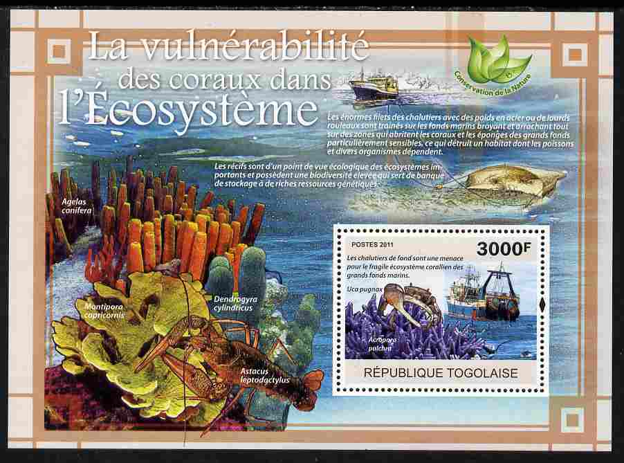Togo 2011 Environment - Vulnerable Corals - Ships perf s/sheet unmounted mint