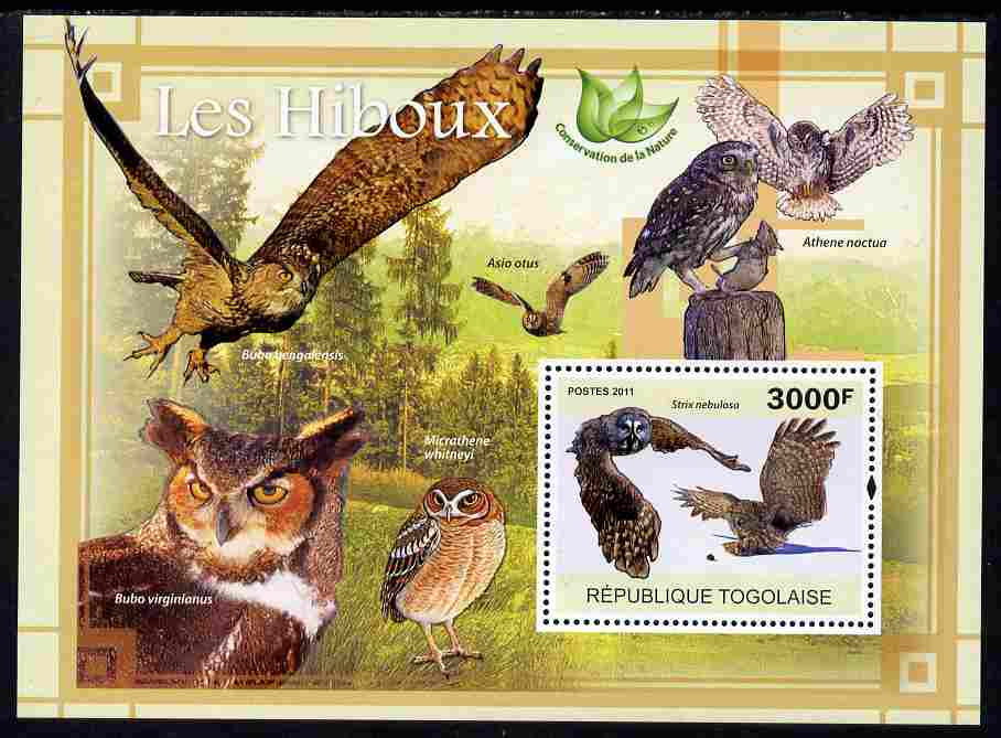 Togo 2011 Owls perf s/sheet unmounted mint