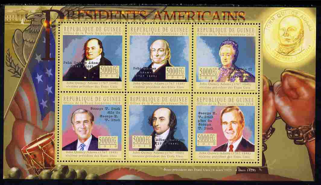 Guinea - Conakry 2010-11 Presidents of the USA #06 - John Quincy Adams perf sheetlet containing 6 values unmounted mint Michel 7895-7900