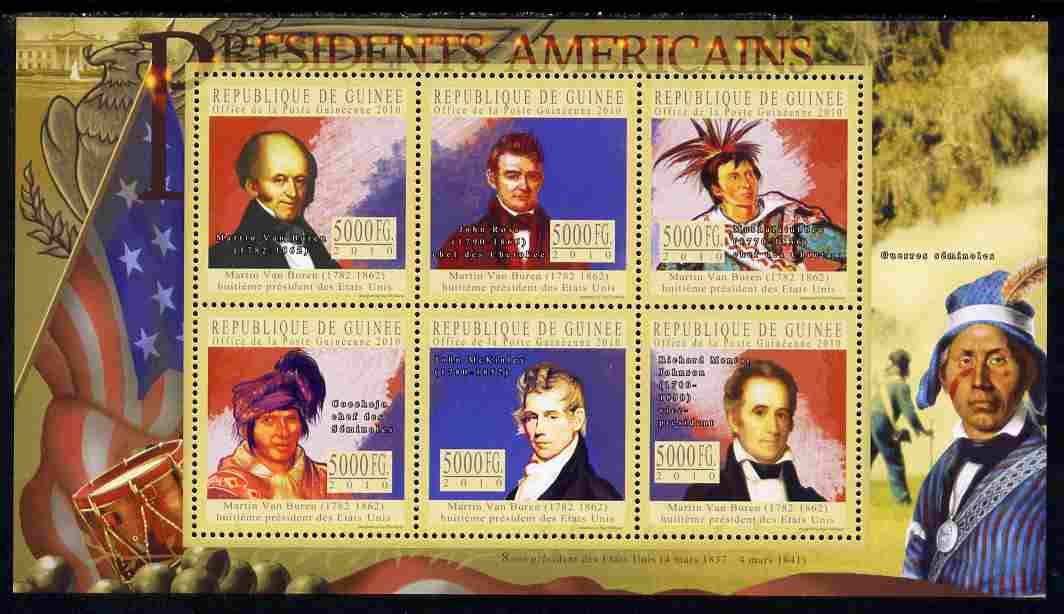 Guinea - Conakry 2010-11 Presidents of the USA #08 - Martin Van Buren perf sheetlet containing 6 values unmounted mint Michel 7907-12
