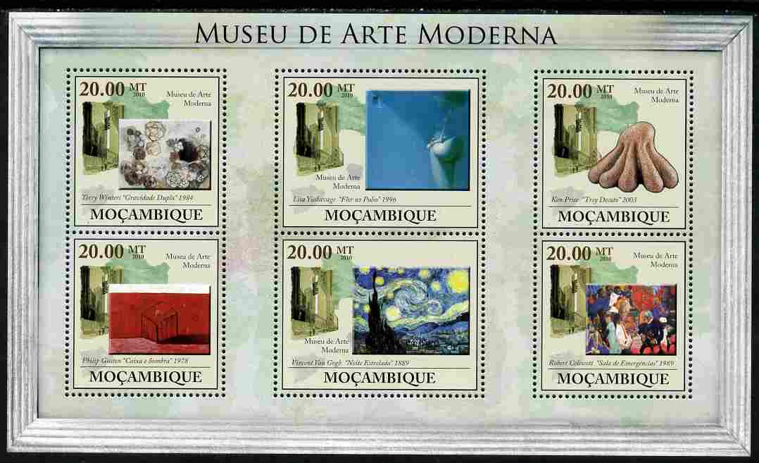 Mozambique 2010 Museum of Modern Art perf sheetlet containing 6 values unmounted mint Yvert 3284-89