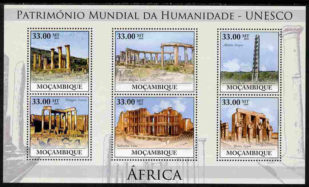 Mozambique 2010 UNESCO World Heritage Sites - Africa #3 perf sheetlet containing 6 values unmounted mint, Yvert 3206-11