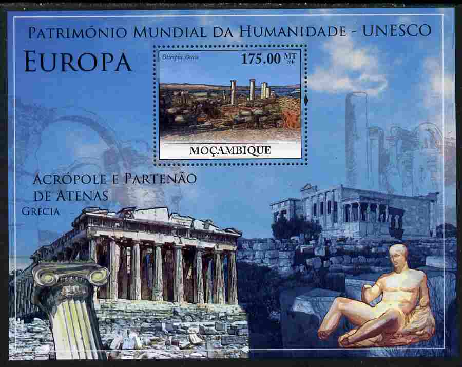 Mozambique 2010 UNESCO World Heritage Sites - Europe #3 perf m/sheet unmounted mint, Yvert 289