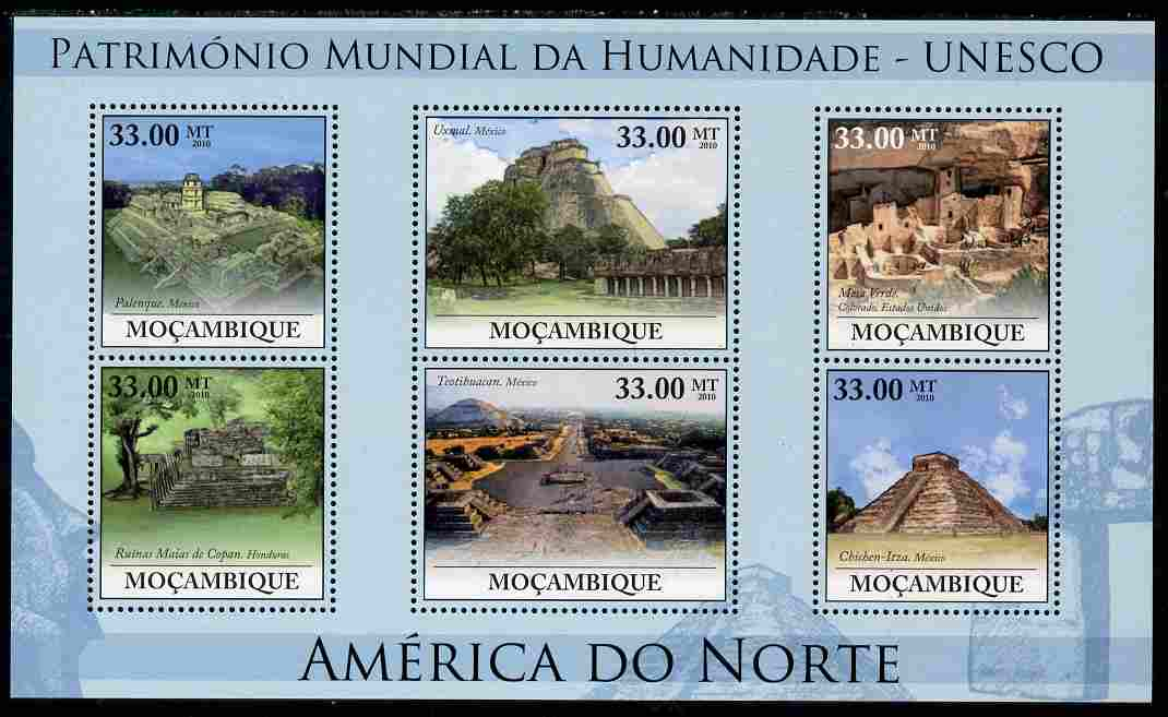 Mozambique 2010 UNESCO World Heritage Sites - North America #1 perf sheetlet containing 6 values unmounted mint, Yvert 3230-35