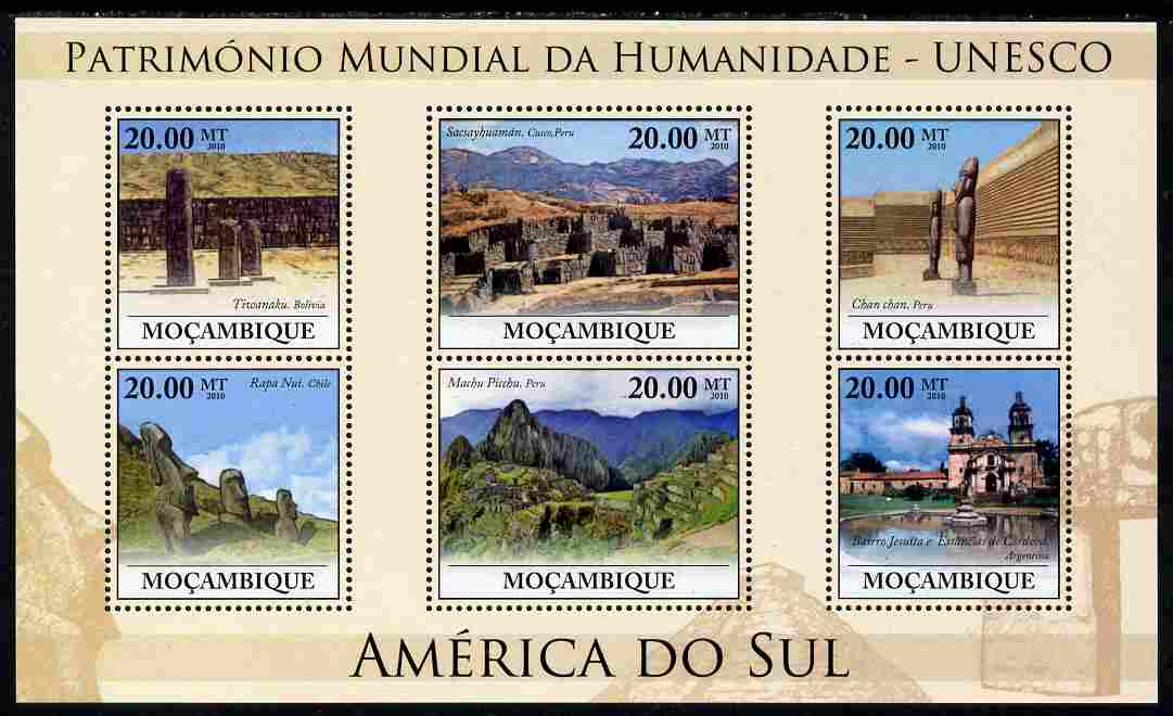 Mozambique 2010 UNESCO World Heritage Sites - South America #2 perf sheetlet containing 6 values unmounted mint, Yvert 3242-47