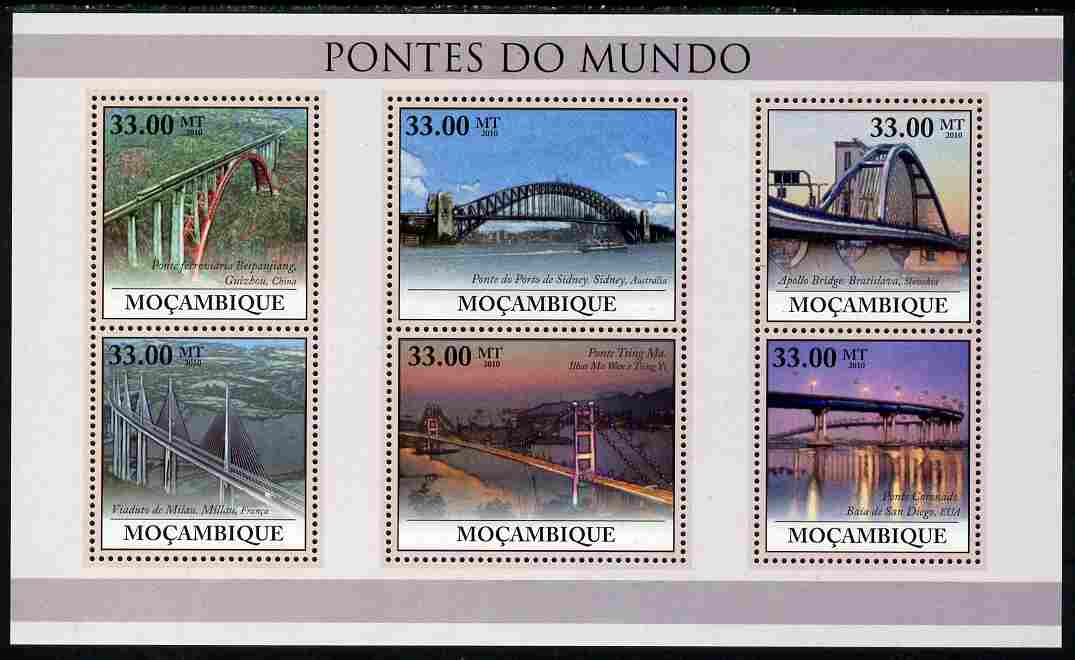 Mozambique 2010 Bridges of the World perf sheetlet containing 6 values unmounted mint, Yvert 3170-75