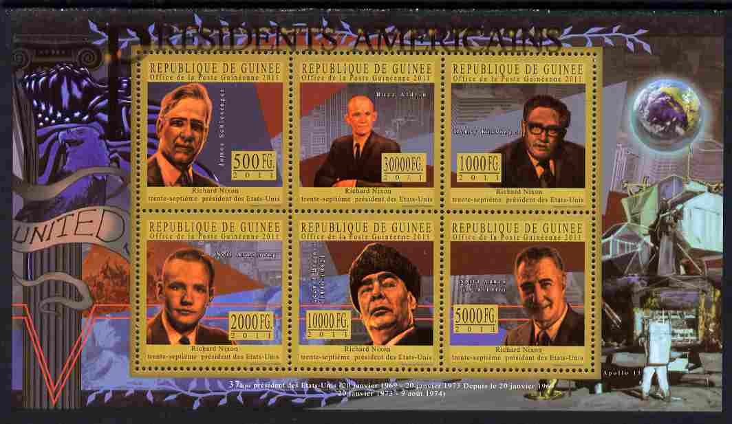 Guinea - Conakry 2010-11 Presidents of the USA #37 - Richard Nixon perf sheetlet containing 6 values unmounted mint Michel 8200-05