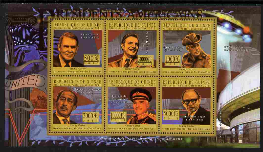 Guinea - Conakry 2010-11 Presidents of the USA #39 - Jimmy Carter perf sheetlet containing 6 values unmounted mint Michel 8212-17