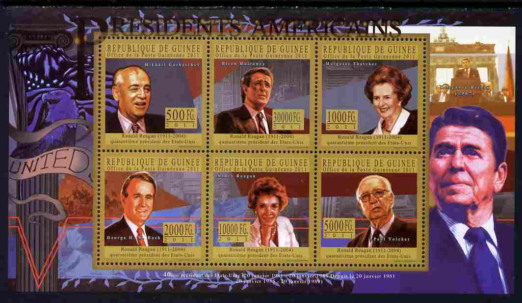 Guinea - Conakry 2010-11 Presidents of the USA #40 - Ronald Reagan perf sheetlet containing 6 values unmounted mint Michel 8218-23