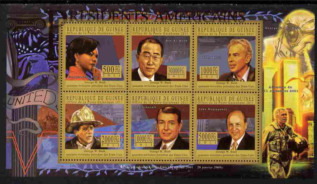Guinea - Conakry 2010-11 Presidents of the USA #43 - George W Bush perf sheetlet containing 6 values unmounted mint Michel 8236-41