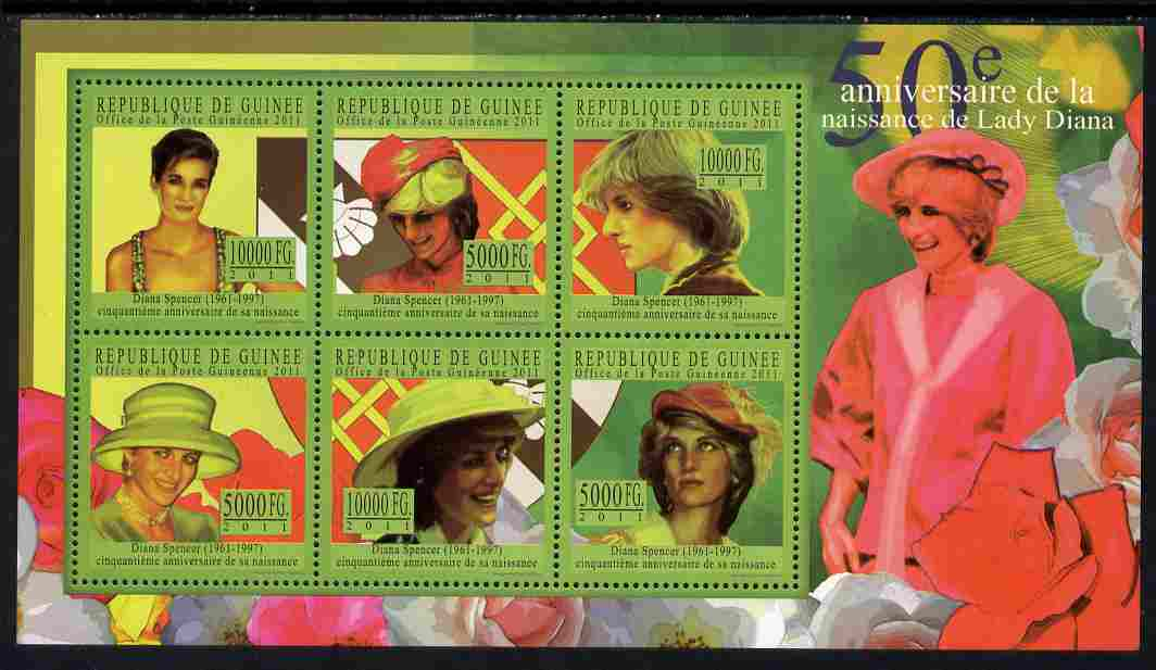 Guinea - Conakry 2011 50th Birth Anniversary of Princess Diana #1 perf sheetlet containing 6 values unmounted mint Michel 8066-71
