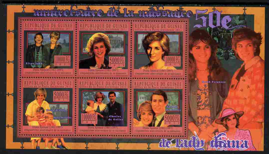 Guinea - Conakry 2011 50th Birth Anniversary of Princess Diana #2 perf sheetlet containing 6 values unmounted mint Michel 8108-13