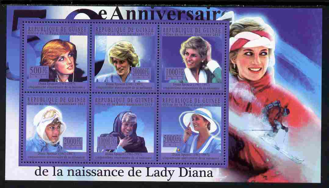 Guinea - Conakry 2011 50th Birth Anniversary of Princess Diana #3 perf sheetlet containing 6 values unmounted mint Michel 8084-89