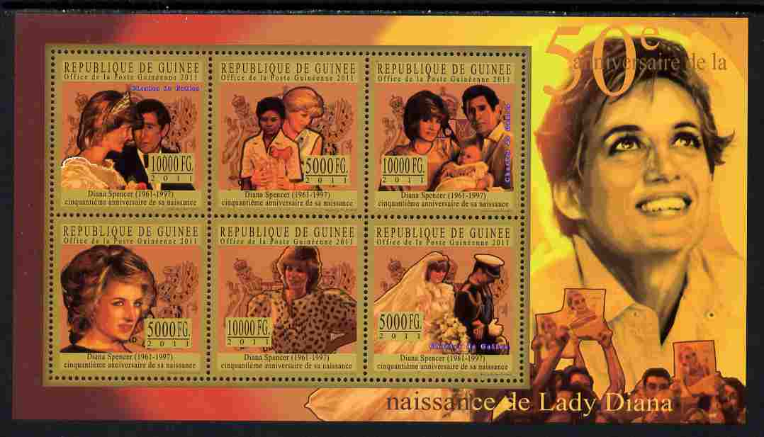 Guinea - Conakry 2011 50th Birth Anniversary of Princess Diana #4 perf sheetlet containing 6 values unmounted mint Michel 8072-77