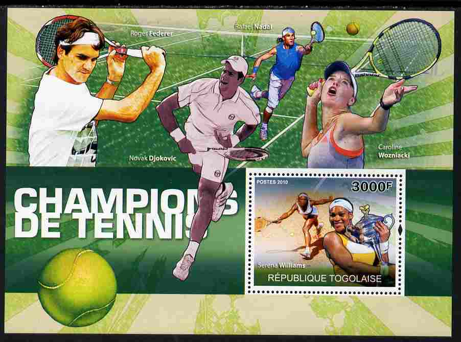Togo 2010 Champions of Tennis perf s/sheet unmounted mint Yvert 417