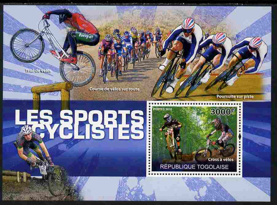 Togo 2010 Cycling perf s/sheet unmounted mint Yvert 420, stamps on sport, stamps on bicycles