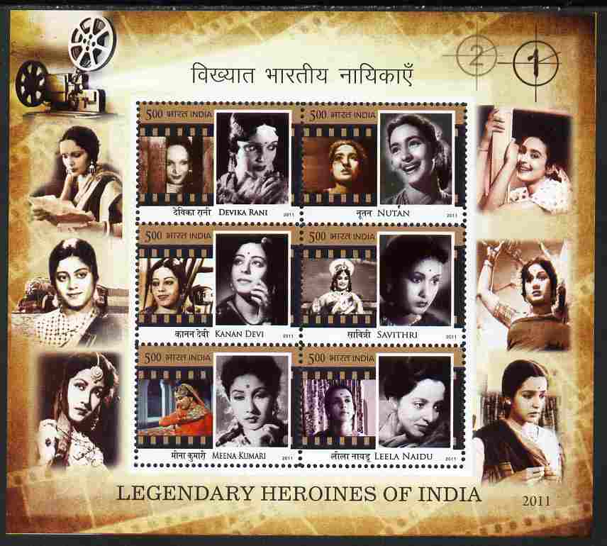 India 2011 Legendary Heroines of India perf m/sheet containing set of 6 unmounted mint