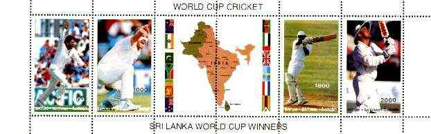 Batum 1996 Cricket World Cup (India) se-tenant horiz strip of 4 plus 2 labels unmounted mint