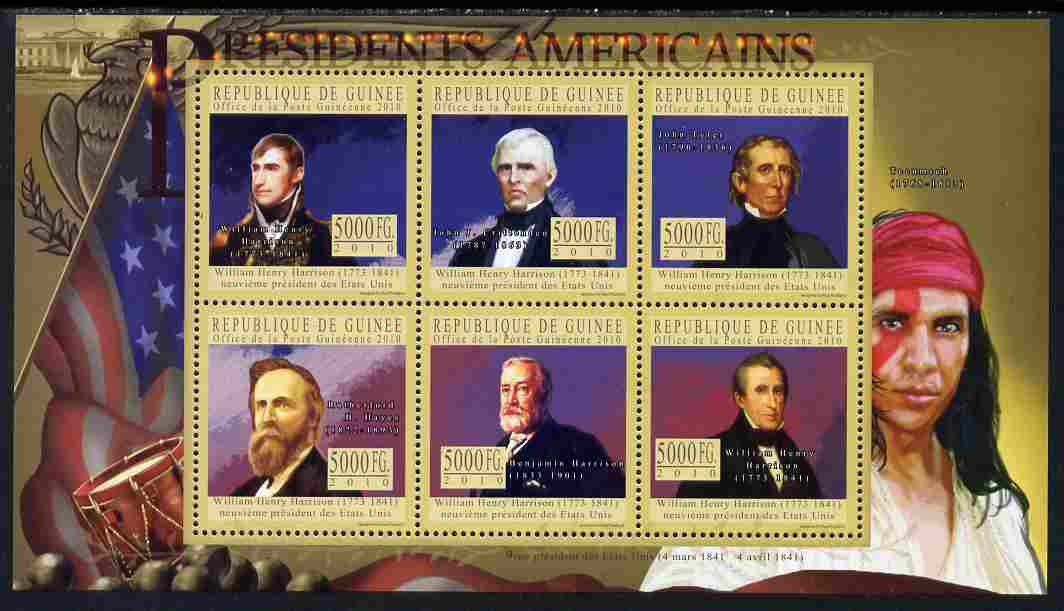 Guinea - Conakry 2010-11 Presidents of the USA #09 - William H Harrison perf sheetlet containing 6 values unmounted mint Michel 7913-18