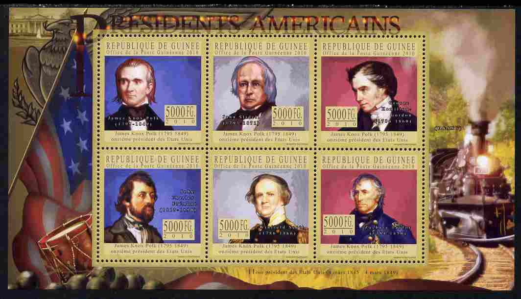 Guinea - Conakry 2010-11 Presidents of the USA #11 - James K Polk perf sheetlet containing 6 values unmounted mint Michel 7925-30